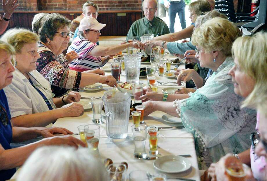 Participants in one of Amy Koren-Roth's food tours sample fare at the Albany Pump Station Friday June 1, 2018 in Albany, NY.  (John Carl D'Annibale/Times Union) Photo: John Carl D'Annibale, Albany Times Union / 20043934A