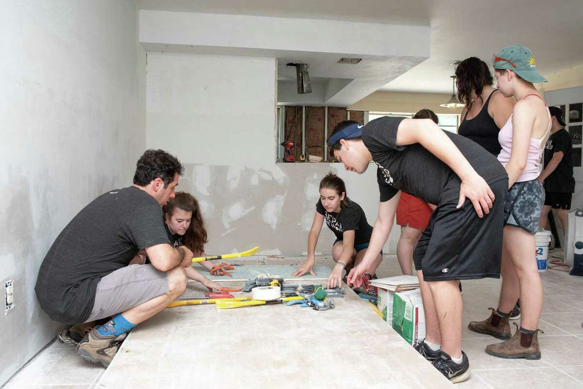 Repair the World volunteers helped to rebuild a home along with SBP volunteers during their time in Houston.