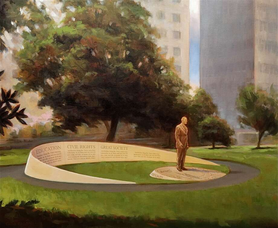 Another presidential statue is coming to downtown Houston, joining an existing George H.W. Bush just blocks north. Lyndon Baines Johnson, one-time Houston resident and former President of the United States, will soon be honored with a statue on the west end of downtown. The bronze, 8-foot-tall LBJ sculpture is slated to be installed at downtown's Little Tranquility Park, bound by Capitol, Walker, Bagby and Smith streets. The tall Texan was one of only two U.S. presidents born in the Lone Star State so far. Photo: Gensler