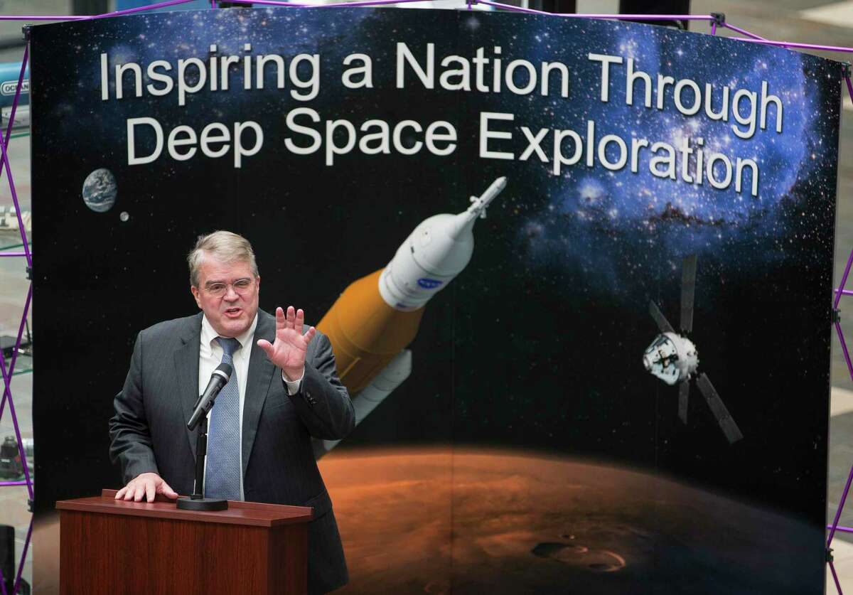 Then-U.S. Rep. John Culberson, R-Houston, chairman of the House Appropriations Subcommittee on Commerce, Justice, and Science, speaks to employees at Oceaneering Space Systems, on April 30, 2018, in Houston.
