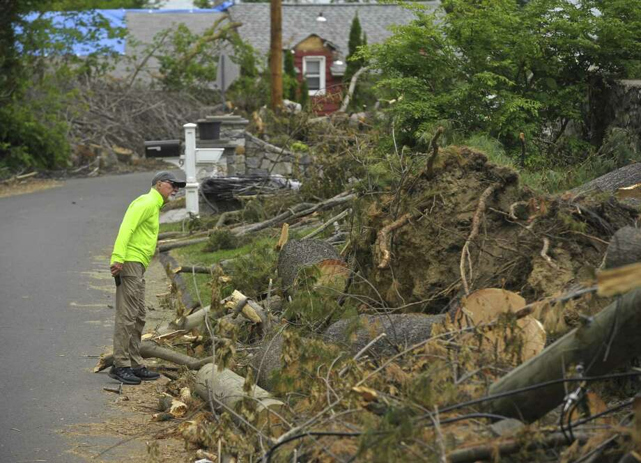 George Bailey looks over the remaining storm damage trees on his Pocono Point Road property, on Thursday, May 31, 2018, in Danbury, Conn. Photo: H John Voorhees III / Hearst Connecticut Media / The News-Times
