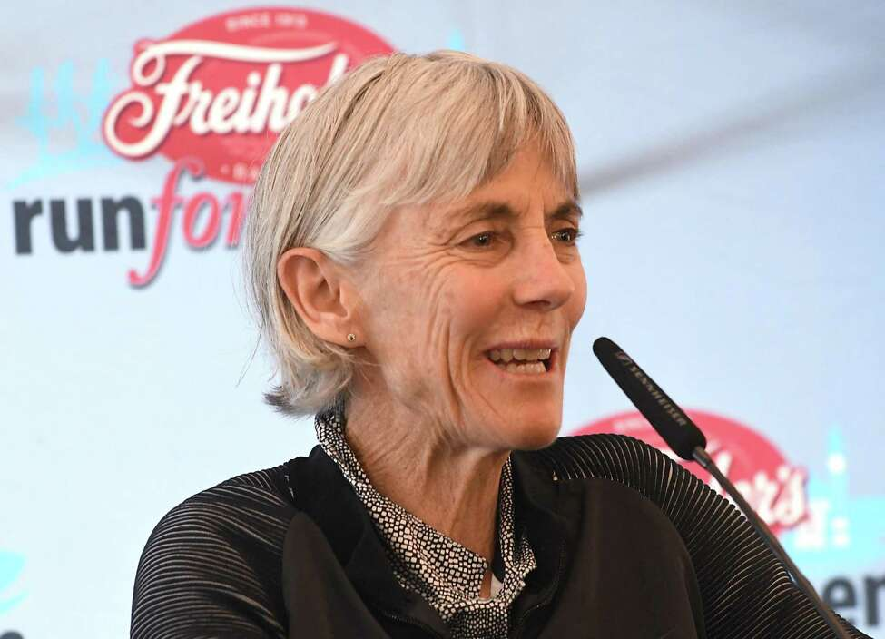 Masters athlete Joan Benoit-Samuelson speaks as the Freihofer's Run For Women holds its press conference to promote the 40th anniversary of the race at the Renaissance Albany Hotel on Friday, June 1, 2018 in Albany, N.Y. (Lori Van Buren/Times Union)