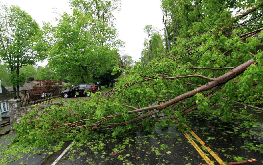 Aftermath from Tuesday's storm along Ball Pond Road in New Fairfield, Conn., on Wednesday May 16, 2018. Photo: Christian Abraham / Hearst Connecticut Media / Connecticut Post