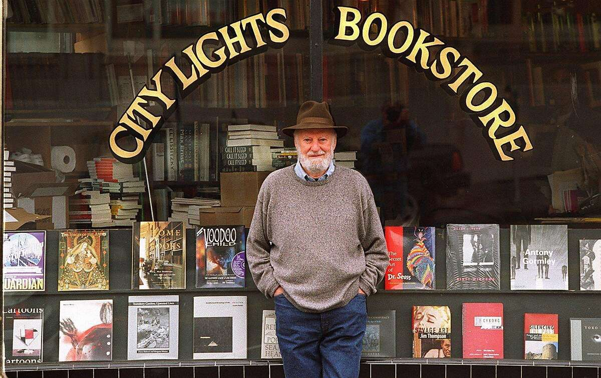 Lawrence Ferlinghetti at City Lights Bookstore, which he co-founded, with Peter D. Martin, in 1953.