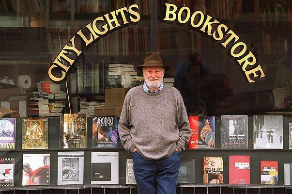 FERLINGHETTI#1/C/15NOV95/DD/JO'H Lawrence Ferlinghetti,Poet, publisher, bookstore owner recently published 40th Anniv. of City Lights Poetry Anthology. Named San Francisco's first poet laureate. STANDING IN FRONT OF HIS CITY OF LIGHT'S BOOKSTORE IN NORTH BEACH AREA OF SF. Photo by...........John O'Hara