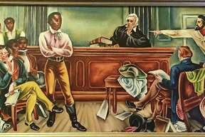Judge Smith Thompson presides over a dramatic, and not accurate, courtroom confrontation with the Cuban slave traders and government officials (right) and Cinque, the Amistad captives and Roger Sherman Baldwin (left).