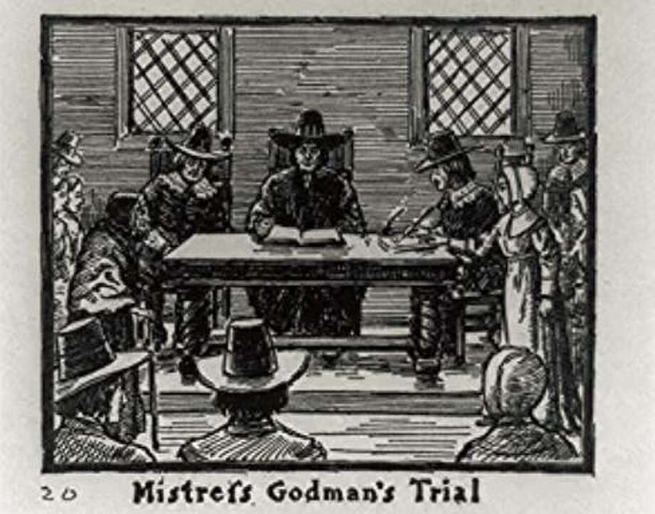 A copy of a wooden engraving of the witchcraft trial of Elizabeth Godman in New Haven. Photo: From Sketched Made By Irving E. Hulbert From Old Pictures In The Historical Society Of New Haven And Other Sources In 1911.