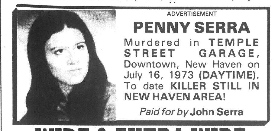 """This ad ran for many years in the New Haven Register after the downtown slaying of Concetta """"Penney"""" Serra. This ad ran on July 16, 1988. It was paid for by her father."""