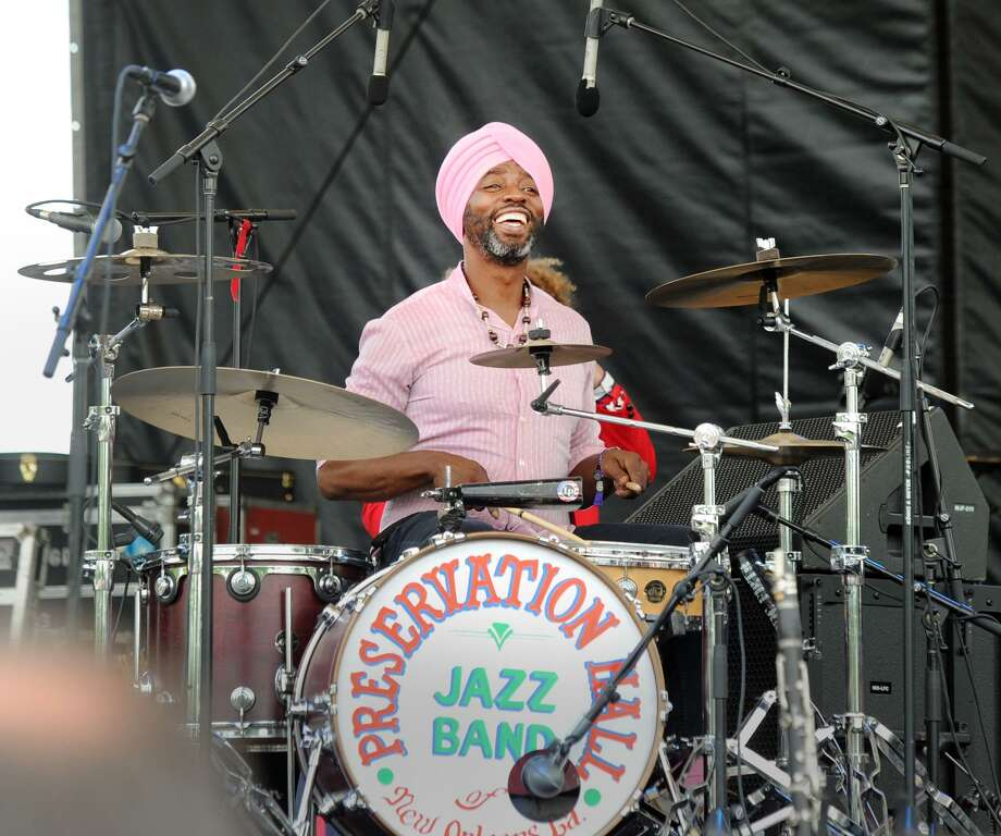 Preservation Hall Jazz Band drummer Walter Harris performs during the Greenwich Town Party at Roger Sherman Baldwin Park in Greenwich, Conn., Saturday, May 26, 2018. The annual outdoor concert event and party is in its eighth year and regularly draws more than 8,000 people throughout the day at the waterfront park that overlooks Greenwich Harbor. Photo: Contributed Photo / Contributed Photo / Greenwich Time Freelance