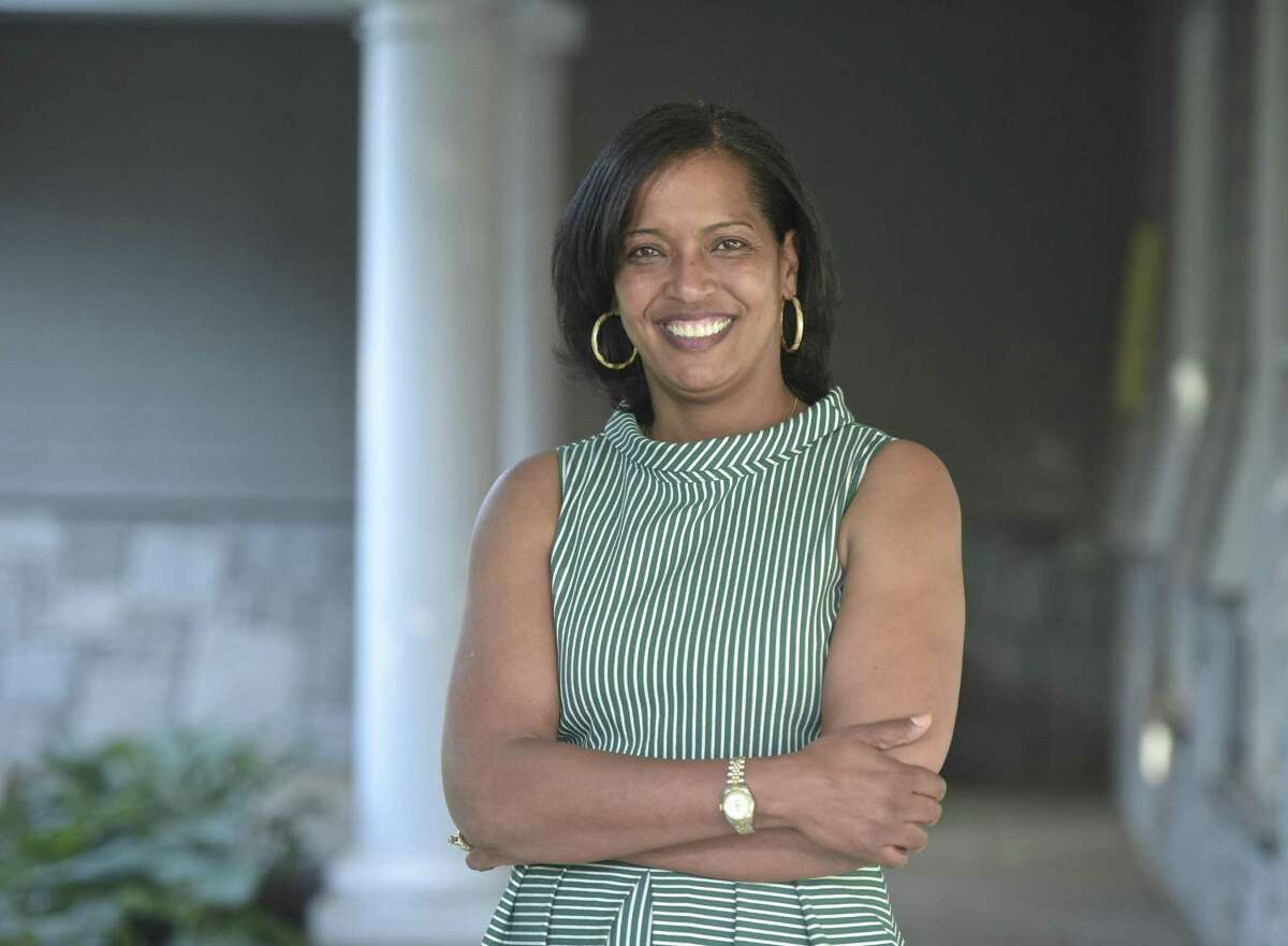 Jahana Hayes, National Teacher of the Year in 2016, is running in the Democratic primary for the 5th District. Tuesday, May 30, 2018, at the Danbury Democratic Party annual fundraiser. Danbury, Conn.