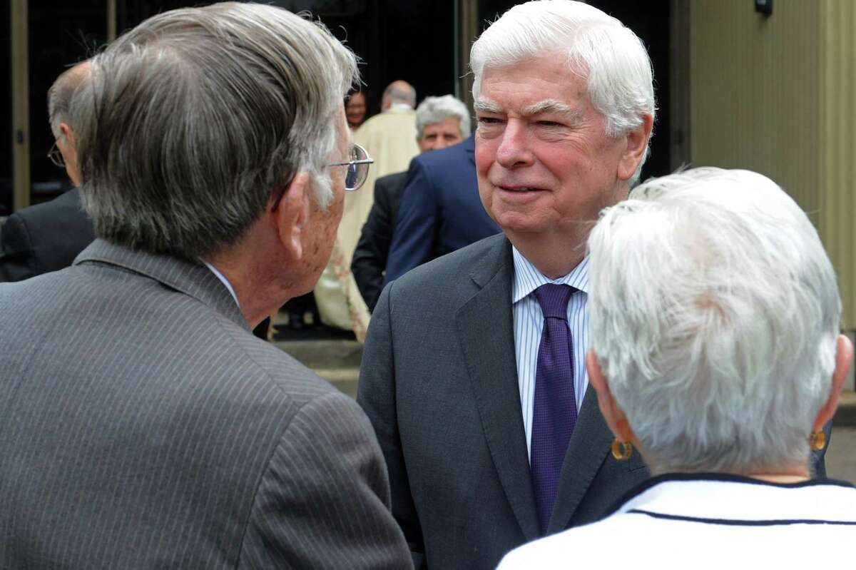 Former US Senator Chris Dodd (D-CT) attends the funeral for former three-term Norwalk Mayor, Frank N. Zullo, Friday, June 1, 2018, at St. Philip Church in Norwalk, Conn. Chris Dodd, former U.S. senator for Connecticut Dodd was one of four advisers who helped Biden choose Vice President-elect Kamala Harris as his running mate this spring and summer. A Democrat, Dodd served as U.S. senator to Connecticut from 1981 to 2011. He's now senior counsel at the Washington, D.C.-based law firm Arnold and Porter. If Dodd wants an administration job, he's most likely to get one, of Connecticut politicians, given his almost 40-year, close friendship with Biden from their days in the Senate. When asked if he wanted an administration post in an exclusive interview in October, Dodd said he