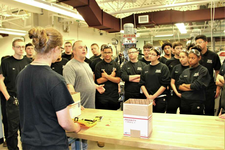 Students at Emmett O'Brien technical high school get instructions. Photo: Jean Falbo