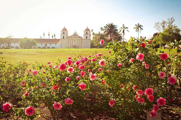 The A.C. Postel Memorial Rose Garden contains more than 1,500 rose plants and is located next to Old Mission Santa Barbara.