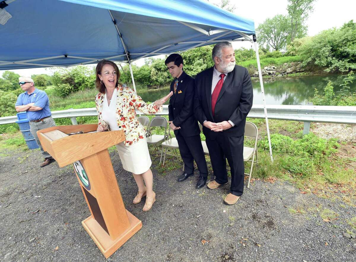 State Rep. Dorinda Borer (at podium), D-West Haven, announces a $3.9 million grant to fund new tide gates and a pedestrian bridge at the entrance to the Cove River in West Haven on June 1, 2018. Left to right are Mark Paine, assistant commissioner of West Haven Public Works, Borer, State Rep. Michael DiMassa and State Rep. Charles Ferraro.