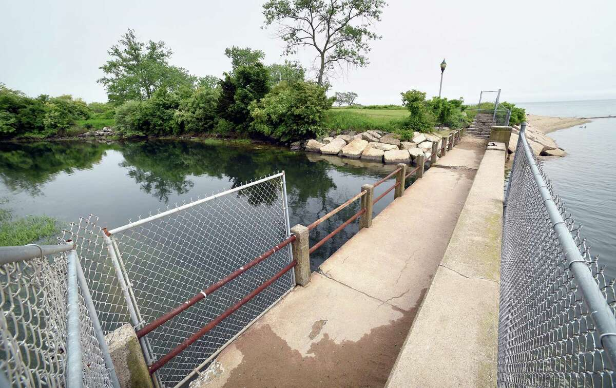 A press conference was held to announce a $3.9 million grant to fund new tide gates and a pedestrian bridge at the entrance to the Cove River in West Haven on June 1, 2018 which will be built in the location of the original tide gate built in 1939.