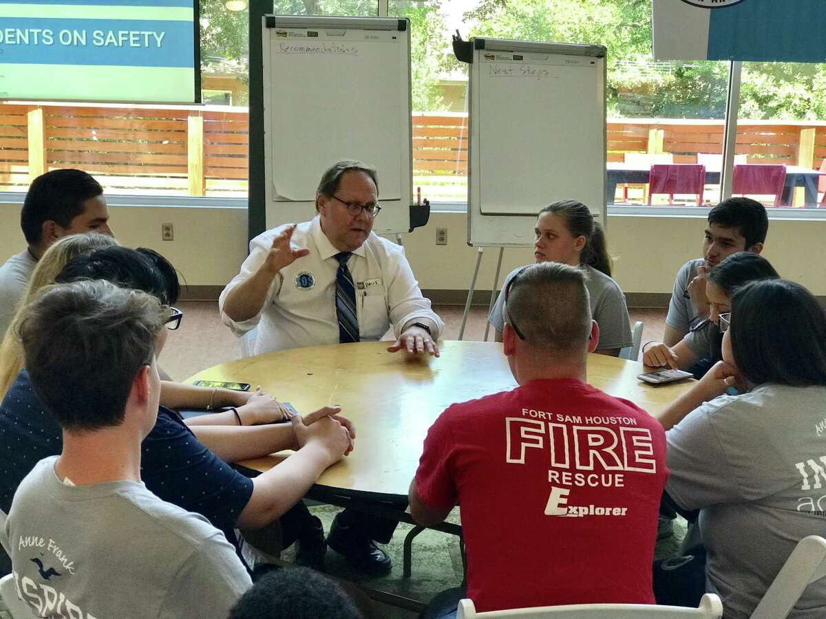 Bruce Rockstroh, the superintendent of Braination, a charter network that includes Anne Frank Inspire Academy, talks to students during a breakout session at the Students on Safety Symposium on the Anne Frank campus. / Courtesy photo