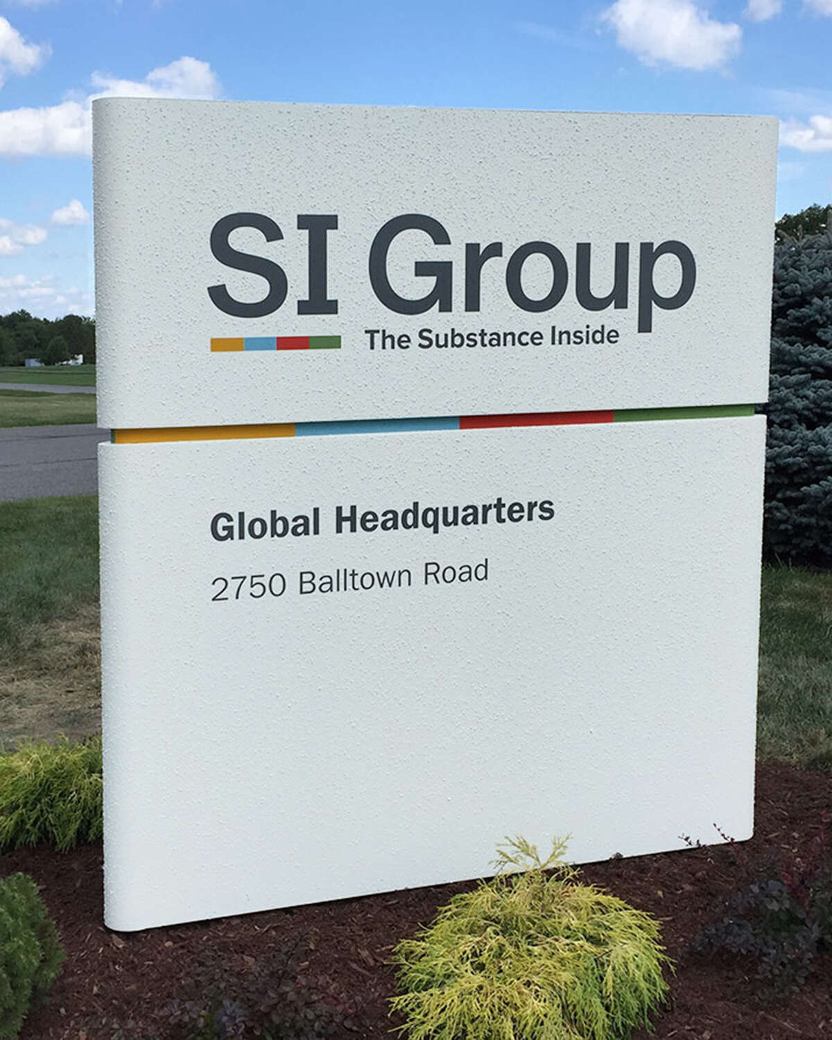 The sign at SI Group's headquarters in Niskayuna