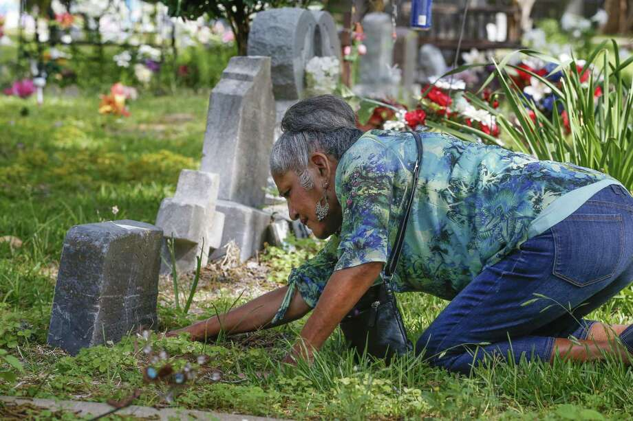 Carmen Flores Perez, a San Isidro Cemetery association member, tries to find the date of death on a headstone that sits inside a Sugar Creek subdivision Tuesday, May 1, 2018, in Sugar Land. The cemetery holds bodies of Hispanic families that worked for the Imperial Sugar Company in the early 1900s. Family members of the workers continue to get buried there. ( Steve Gonzales / Houston Chronicle ) Photo: Steve Gonzales, Houston Chronicle / Houston Chronicle / © 2018 Houston Chronicle