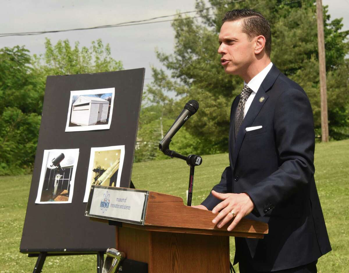 Assemblymember Angelo Santabarbara speaks during a groundbreaking ceremony for new Dudley observatory at miSci on Friday, June 1, 2018 in Schenectady, N.Y. (Lori Van Buren/Times Union)