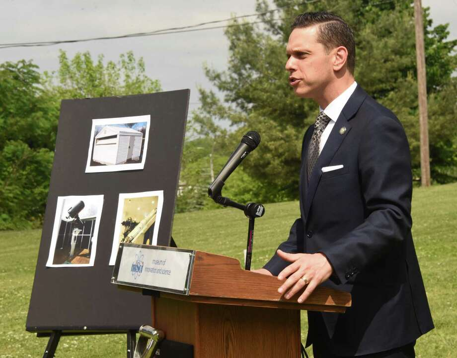 Assemblymember Angelo Santabarbara speaks during a groundbreaking ceremony for new Dudley observatory at miSci on Friday, June 1, 2018 in Schenectady, N.Y. (Lori Van Buren/Times Union) Photo: Lori Van Buren / 20043956A