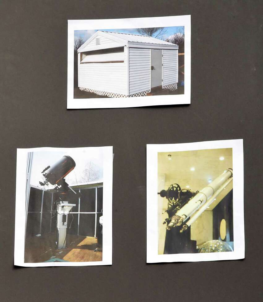 Photos of the new observatory and telescopes are seen during a groundbreaking ceremony for new Dudley observatory at miSci on Friday, June 1, 2018 in Schenectady, N.Y. (Lori Van Buren/Times Union)
