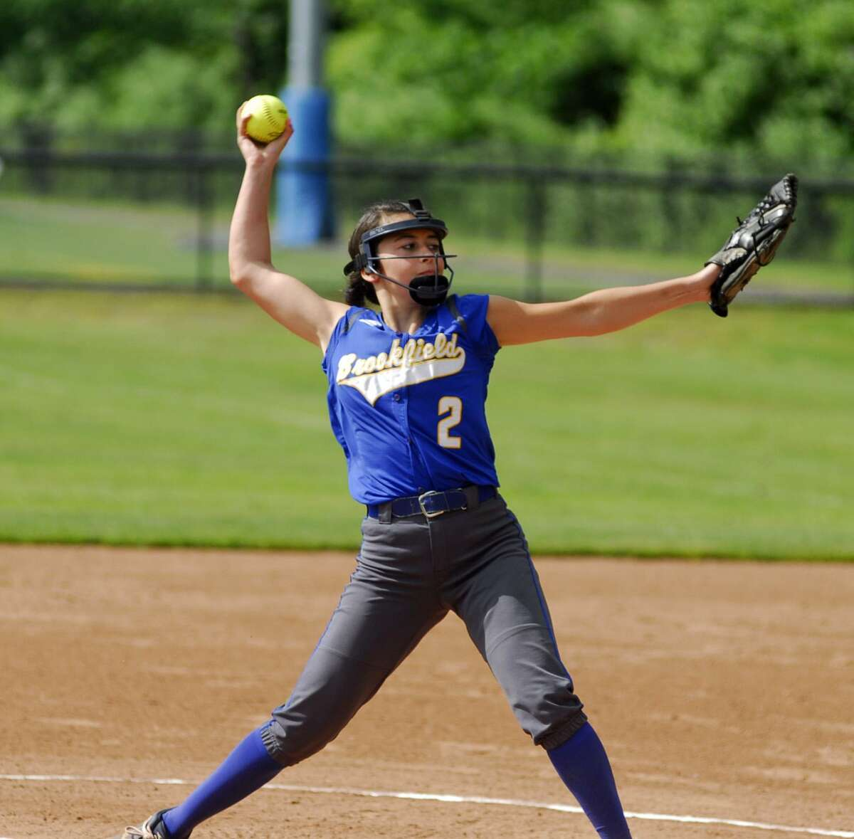 Brookfield's Alyssa Lionetti throws a pitch during a game against Lyman Hall on Friday.