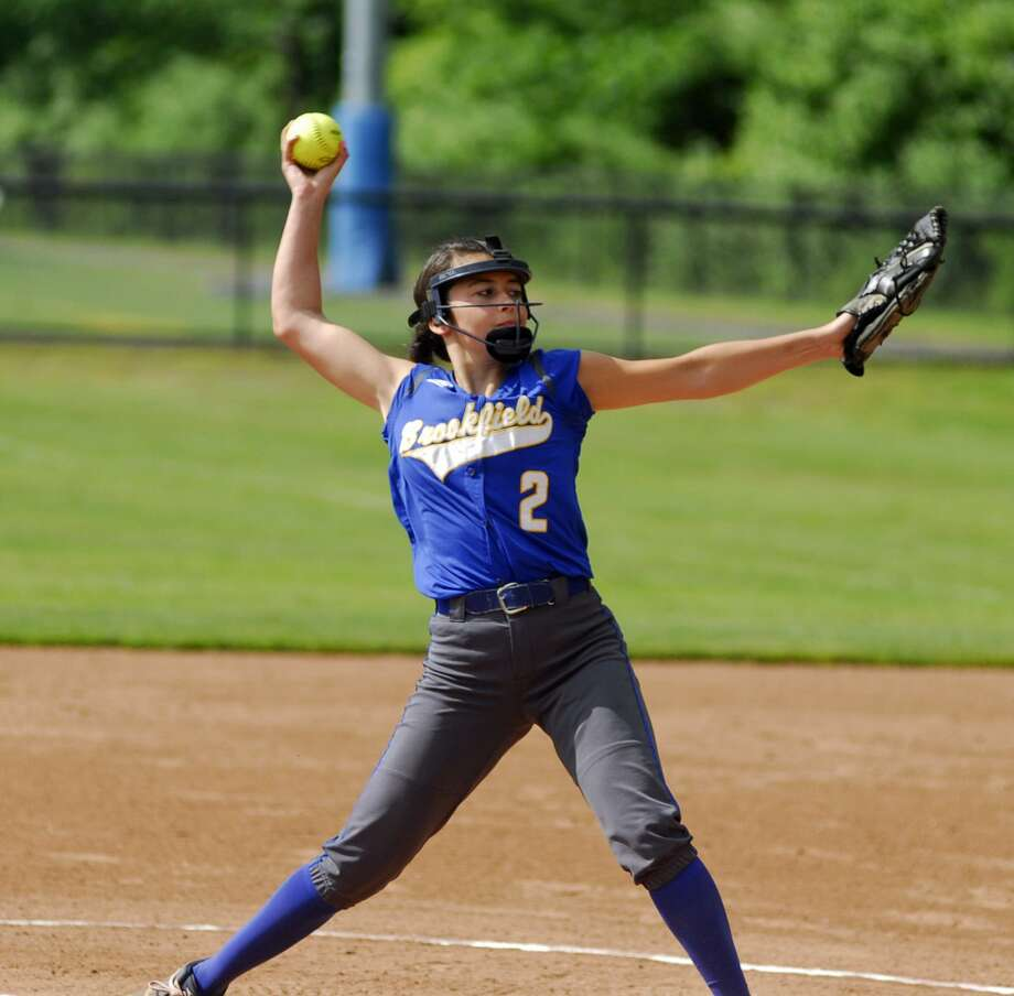 Brookfield's Alyssa Lionetti throws a pitch during a game against Lyman Hall on Friday. Photo: Ryan Lacey /Hearst Connecticut Media