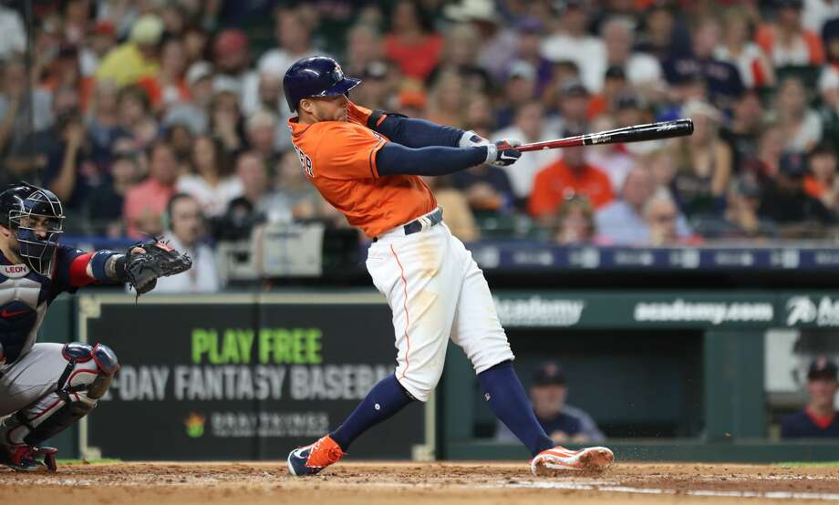 Houston Astros shortstop Carlos Correa (1) hits a homerun during the 3rd inning of an MLB baseball game at Minute Maid Park Friday, June 1, 2018, in Houston. ( Steve Gonzales / Houston Chronicle ) Photo: Steve Gonzales/Houston Chronicle