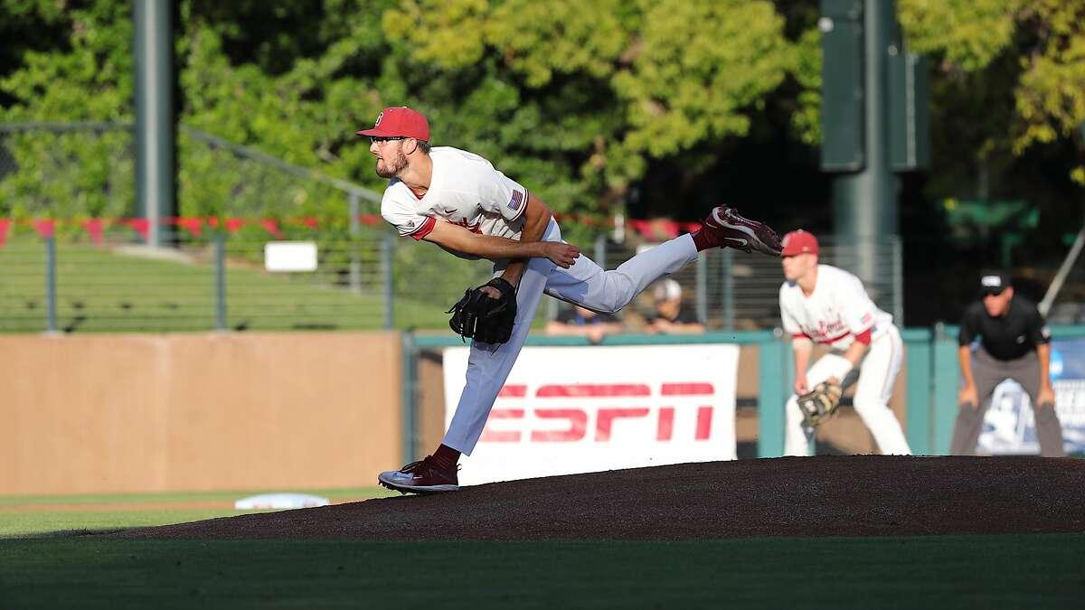 Stanford starter Tristan Beck pitches against Wright State on Friday night at Stanford. Photo courtesy of Stanford Athletics