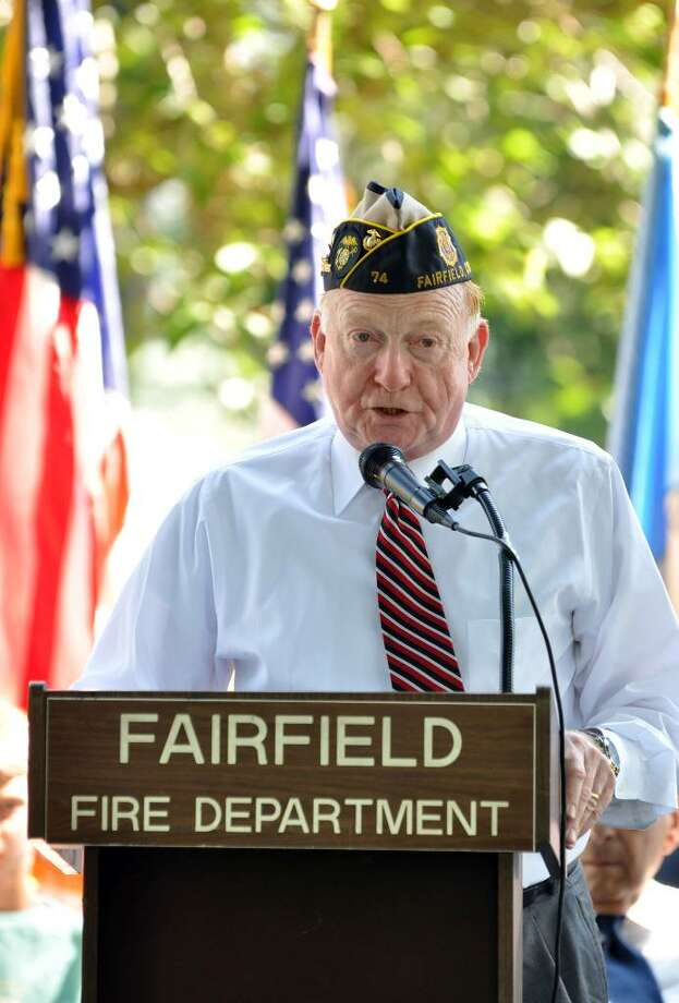 Veteran Roger Moscater, Marine 1968-1971, welcomes the audience to the Fairfield United Veterans Organization's 117th Annual Independence Day Celebration at Town Hall on Monday, July 5, 2010. Photo: Amy Mortensen / Connecticut Post Freelance