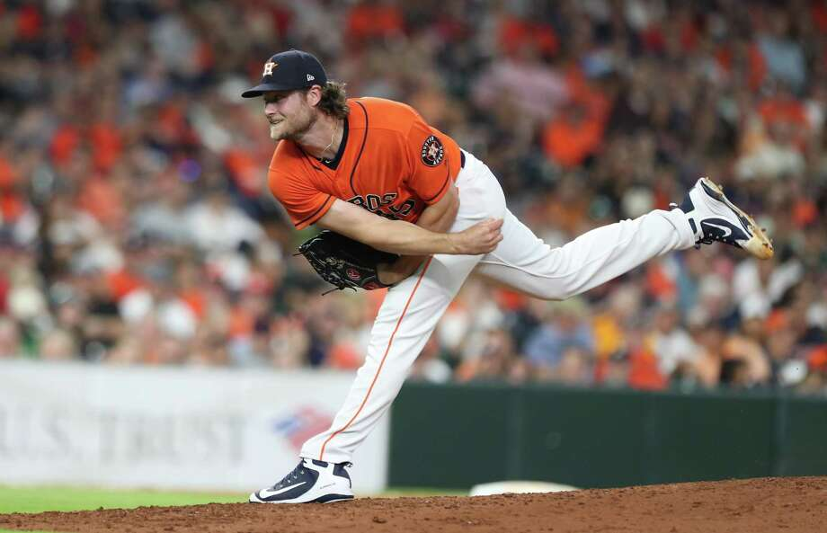 Astros starting pitcher Gerrit Cole delivers during the seventh inning against the Red Sox on Friday at Minute Maid Park, where the Astros are hosting the team with the best record in baseball over the weekend in a four-games series. Photo: Steve Gonzales, Houston Chronicle / Houston Chronicle / © 2018 Houston Chronicle