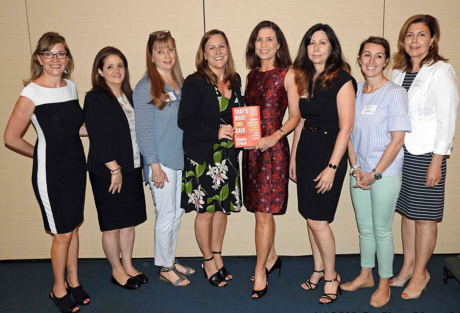 Bestselling author Joanne Lipman spoke at the Middlesex County Chamber of Commerce Women's Leadership Collaborative May 30 about her latest book on women in the workplace. From left are Chamber Vice President Johanna Bond, collaborative members Kim Bartlett-Manisene, Wendy Shumway and Kelly Therrien, Lipman, collaborative Chairwoman Barbara Taylor-Hatje, Liz Bartek and Kimberly Kann. Photo: De Kine Photo LLC Photo