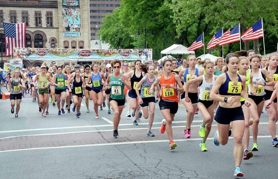More than 3500 runners start the 40th anniversary Freihofer's Run For Women Saturday June 2, 2018 in Albany, NY. (John Carl D'Annibale/Times Union)
