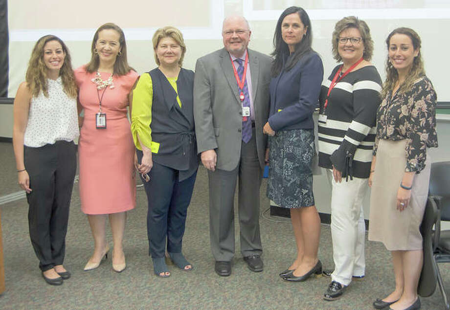 Shown are, from left, SIU SDM student and AAWD vice president Shawna Dudovitz, ADEA Women Liaison Officer Dr. Nathalia Garcia, Silvana Regitano de Lima, SIU SDM Dean Dr. Bruce Rotter, Elzandi Oosthuizen, AAWD Faculty Advisor and clinical assistant professor Dr. Sara Whitener, and AAWD president Roxanne Dudovitz. Photo:       For The Telegraph