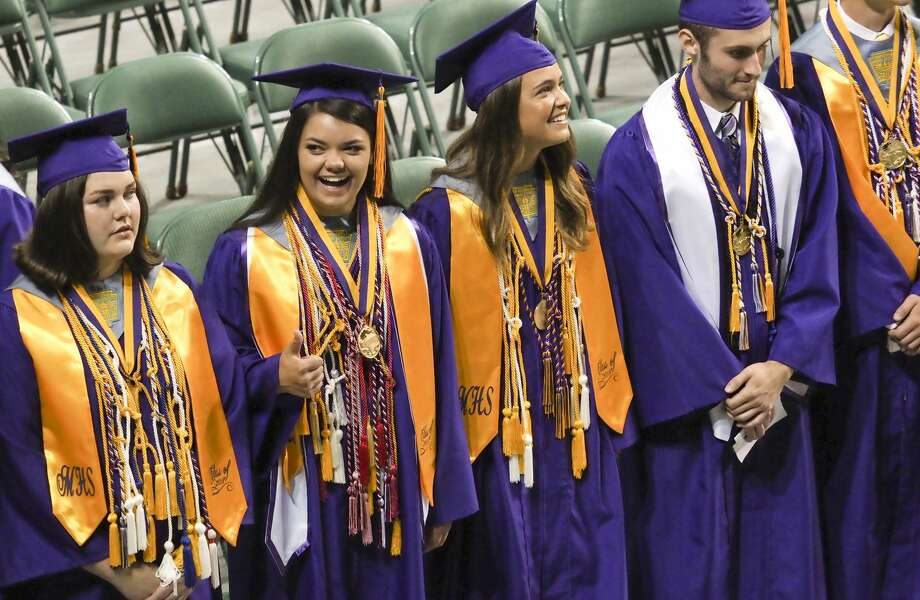 Midland High seniors process in during commencement ceremonies 06/02/18 morning at the Chaparral Center. Tim Fischer/Reporter-Telegram Photo: Tim Fischer/Midland Reporter-Telegram