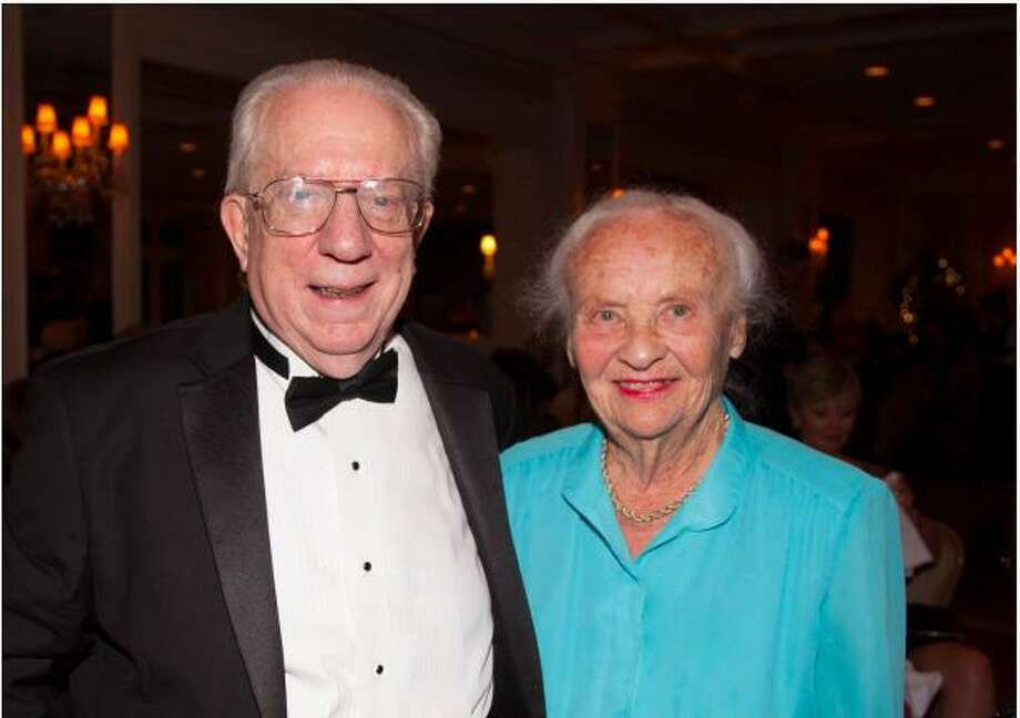 Greenwich Symphony Conductor David Gilbert with Mary Radcliffe, who was honored at the annual gala for her 30 years of service as the group's president. Photo: Contributed /