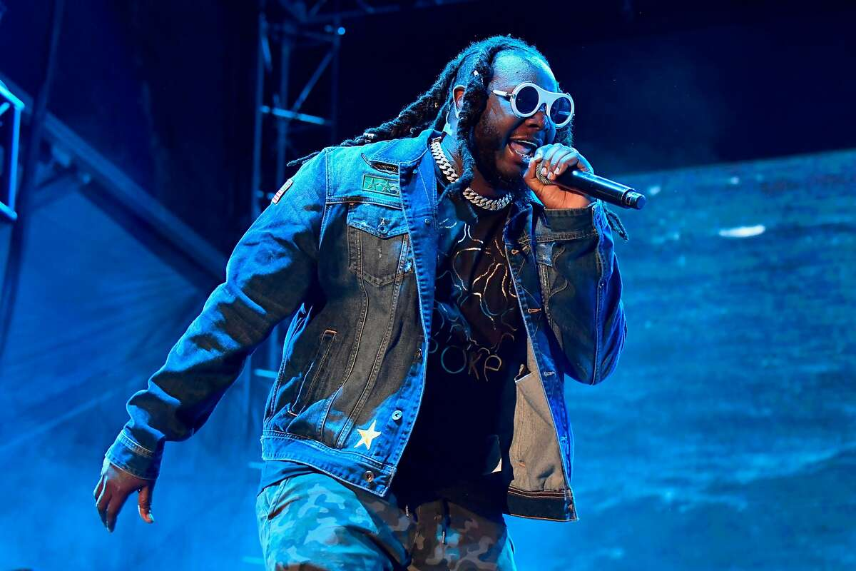 SAN FRANCISCO, CA - JUNE 01: T-Pain performs with The Lonely Island on the Colossal Stage during Clusterfest at Civic Center Plaza and The Bill Graham Civic Auditorium on June 1, 2018 in San Francisco, California. (Photo by Jeff Kravitz/FilmMagic)