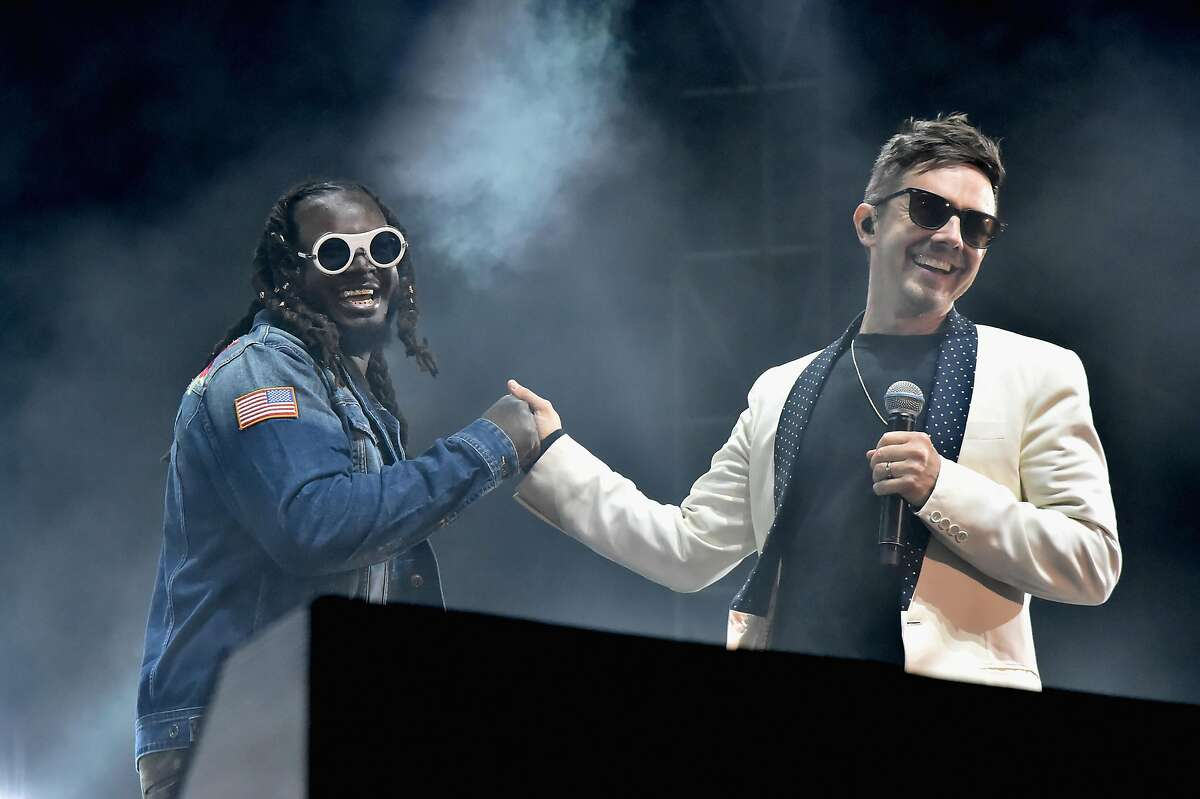 T-Pain and Jorma Taccone of The Lonely Island perform on the Colossal Stage during Clusterfest at Civic Center Plaza and The Bill Graham Civic Auditorium on June 1, 2018 in San Francisco.