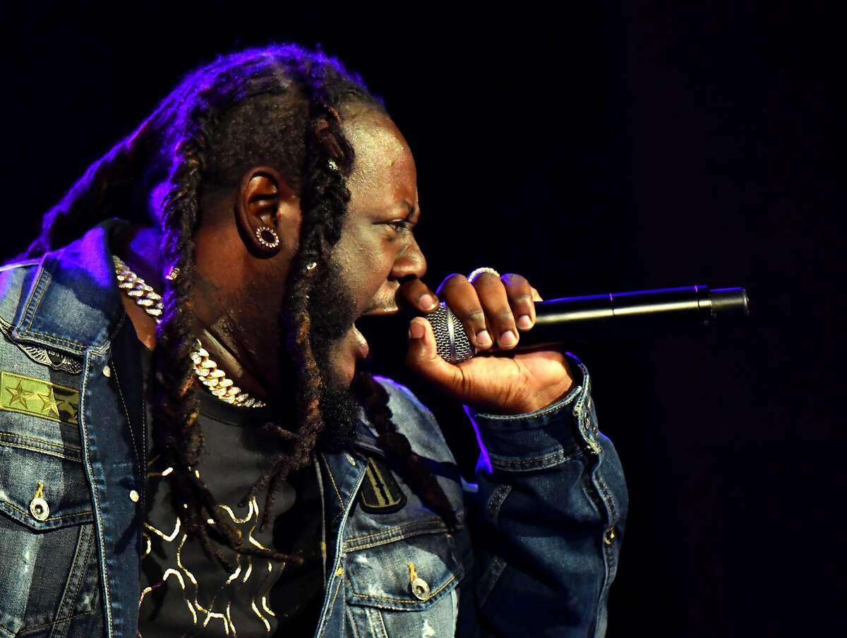 T-Pain performs on the Colossal Stage during Clusterfest at Civic Center Plaza and The Bill Graham Civic Auditorium on June 1, 2018 in San Francisco.