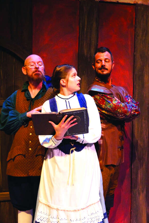 Roger Speidel as Maurice, Rachel Wagner as Belle and John Kuehn as Gaston.