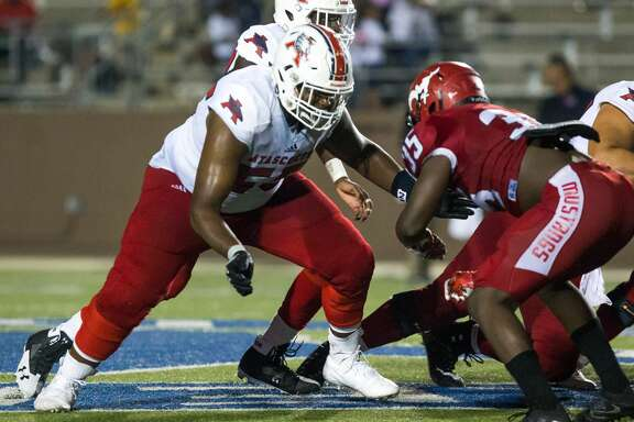 Atascocita OL Kenyon Green (55) on the field during the second half of action between North Shore vs Atascocita high school football game at Galena Park ISD Stadium, Friday, Oct. 13, 2017, in Houston. Atascocita defeated North 38-21. ( Juan DeLeon/for the Houston Chronicle )