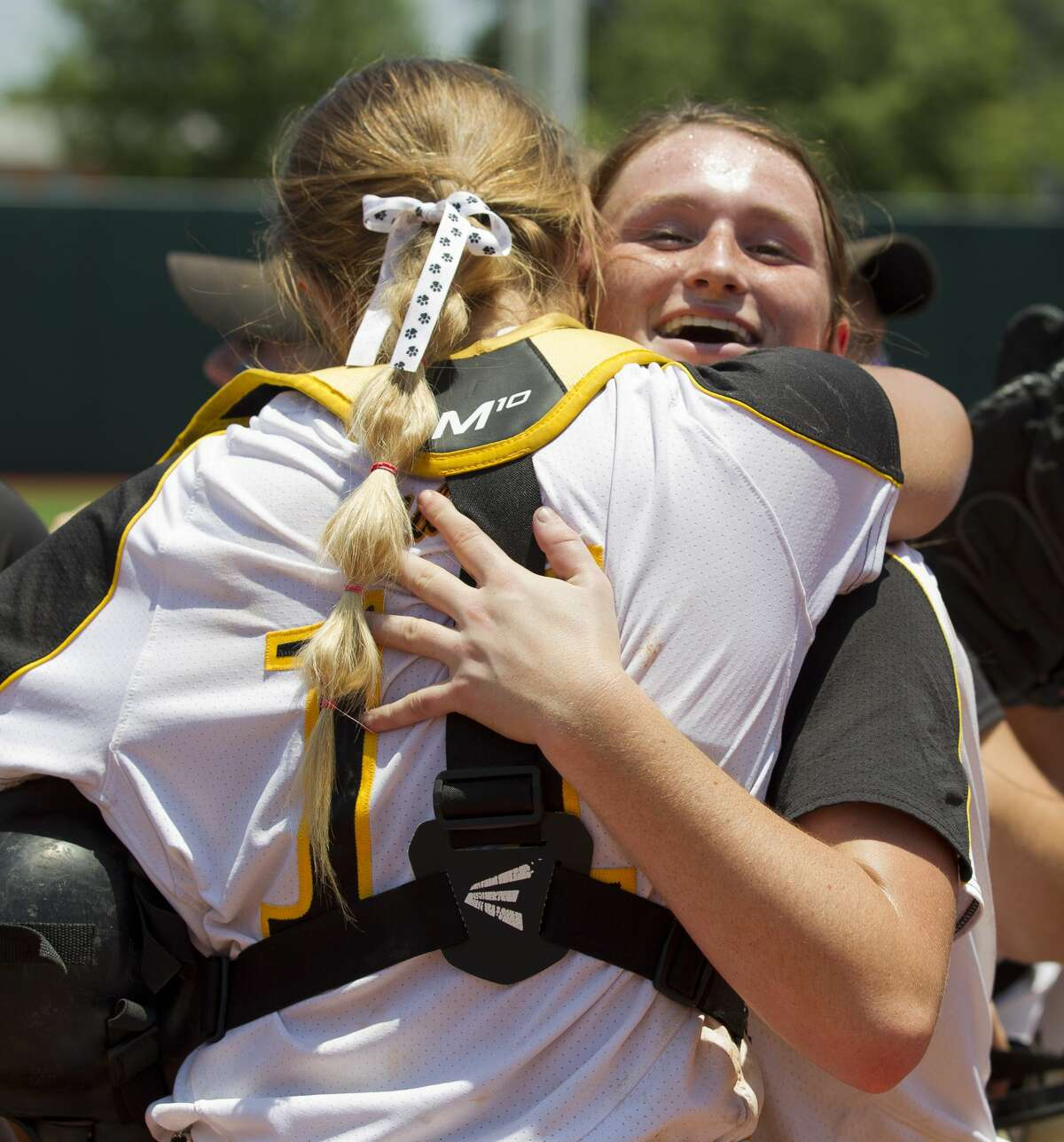 Liberty starting pitcher Kaci West hugs catcher Bailey Webb after defeating Vernon to Liberty 3-1 in the Class 4A state championship game during the UIL State Softball Championships at Red & Charline McCombs Field on Saturday, June 2, 2018, in Austin.