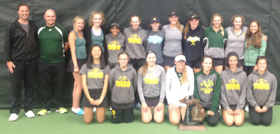 The Dow High girls tennis team, the 2018 Division 1 state runner-up, poses with its trophy Saturday, June 2, 2018, at the Greater Midland Tennis Center.