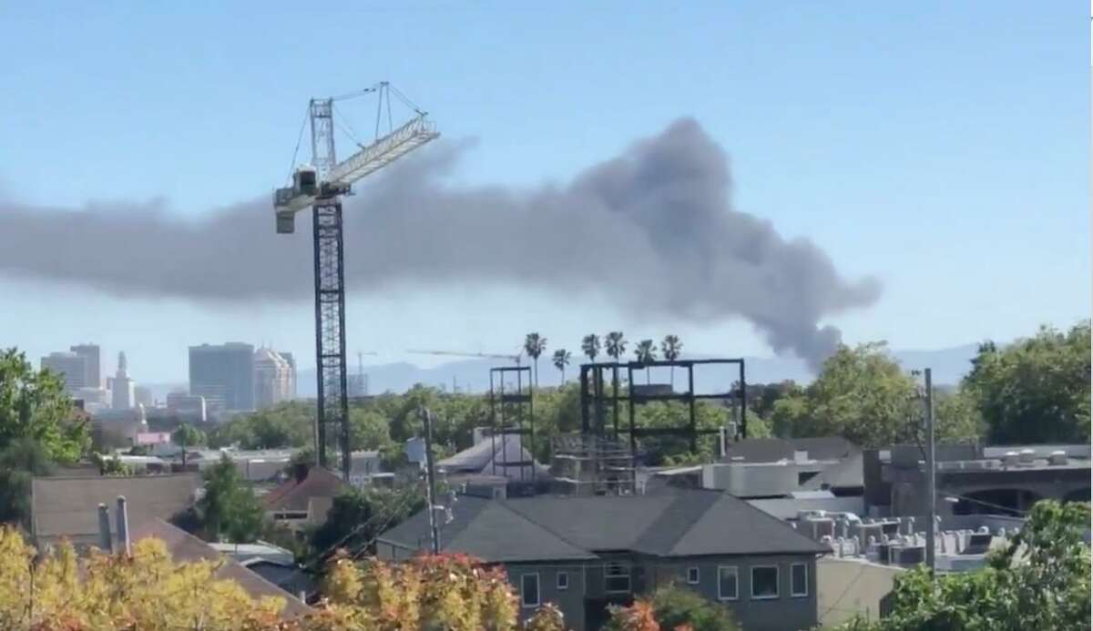 A fire broke out Saturday at the Schnitzer Steel recycling center in Oakland.