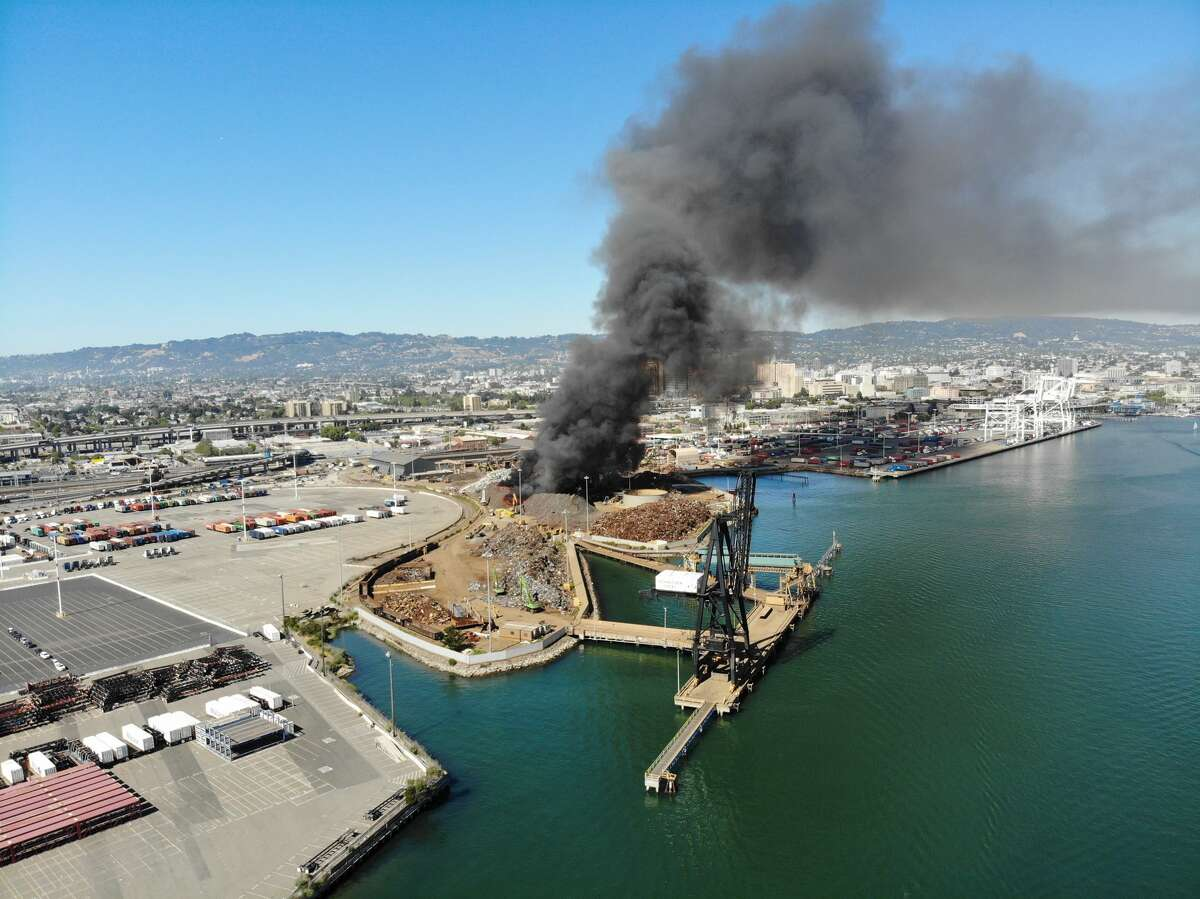 Fire officials cautioned people to avoid the area surrounding the plant, Schnitzer Steel, after a fire broke out Saturday.