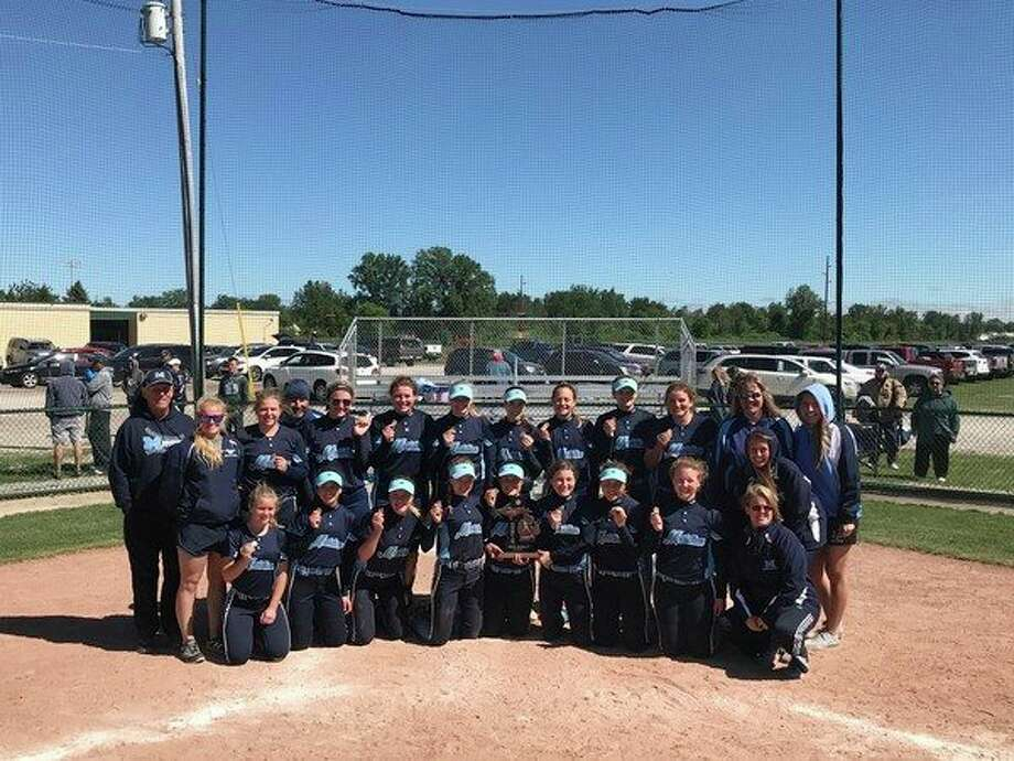 Meridian's softball team hit six home runs Saturday en route to winning the Division 3 district tournament at Pinconning. (photo provided)