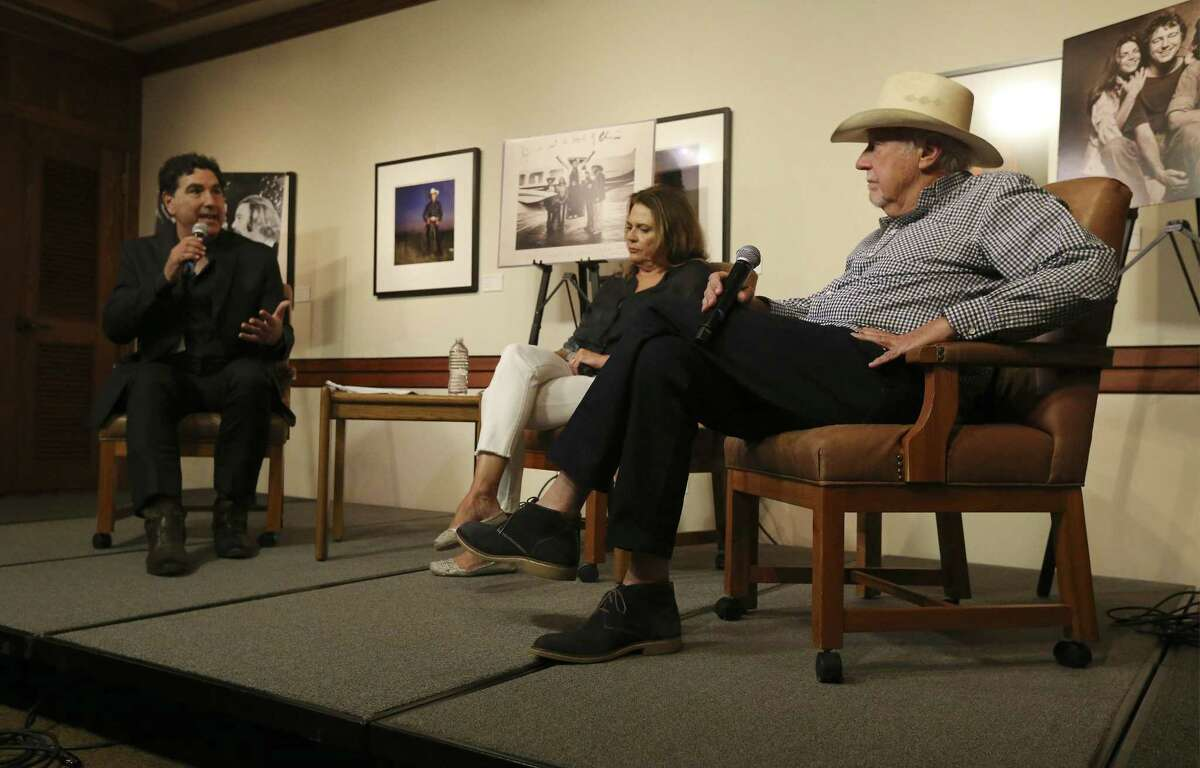 """Texas music icon Jerry Jeff Walker (right) and his wife Susan sit for a rare interview together at The Wittliff Collections with Curator Hector Saldana (left) at Texas State University on Saturday, June 2, 2018. The event celebrates the current exhibition at The Wittliff, """"Viva Jerry Jeff"""" The Origins and Wild Times of a Texas Icon. An audience of nearly 200 gathered at Texas State University's Alkek Library to see Walker and his wife in a sit-down interview with Saldana, curator of the Witliff Music Collection. San Antonio folk singer Rachel Laven started things off with singing Mr. Bojangles - a well-known hit song written by Walker. (Kin Man Hui/San Antonio Express-News)"""