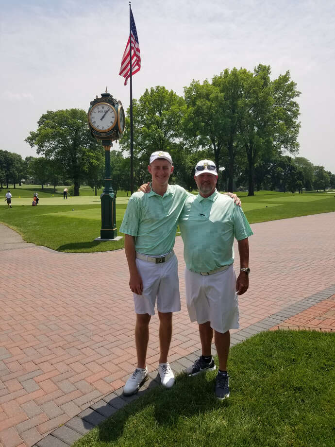 Midland College golfer Callum Bruce and Chaps golf coach Walt Williams pose for a photo at the Barbasol Challenge at Scioto Country Club in Columbus, Ohio. Courtesy photo
