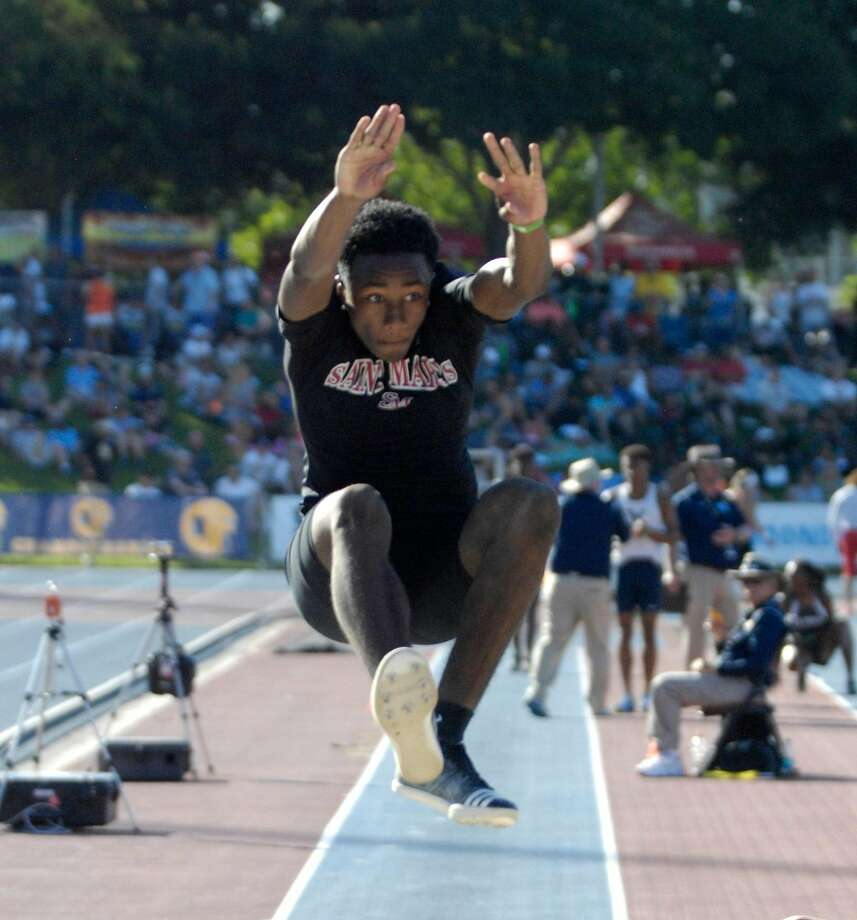 St. Mary's-Berkeley sophomore Malcolm Clemons won the boys long jump in wind-aided 25-1 at the CIF Track and Fields Championships in Clovis on Saturday. Photo by Eric Taylor/1st String Photo: Eric Taylor/1st String