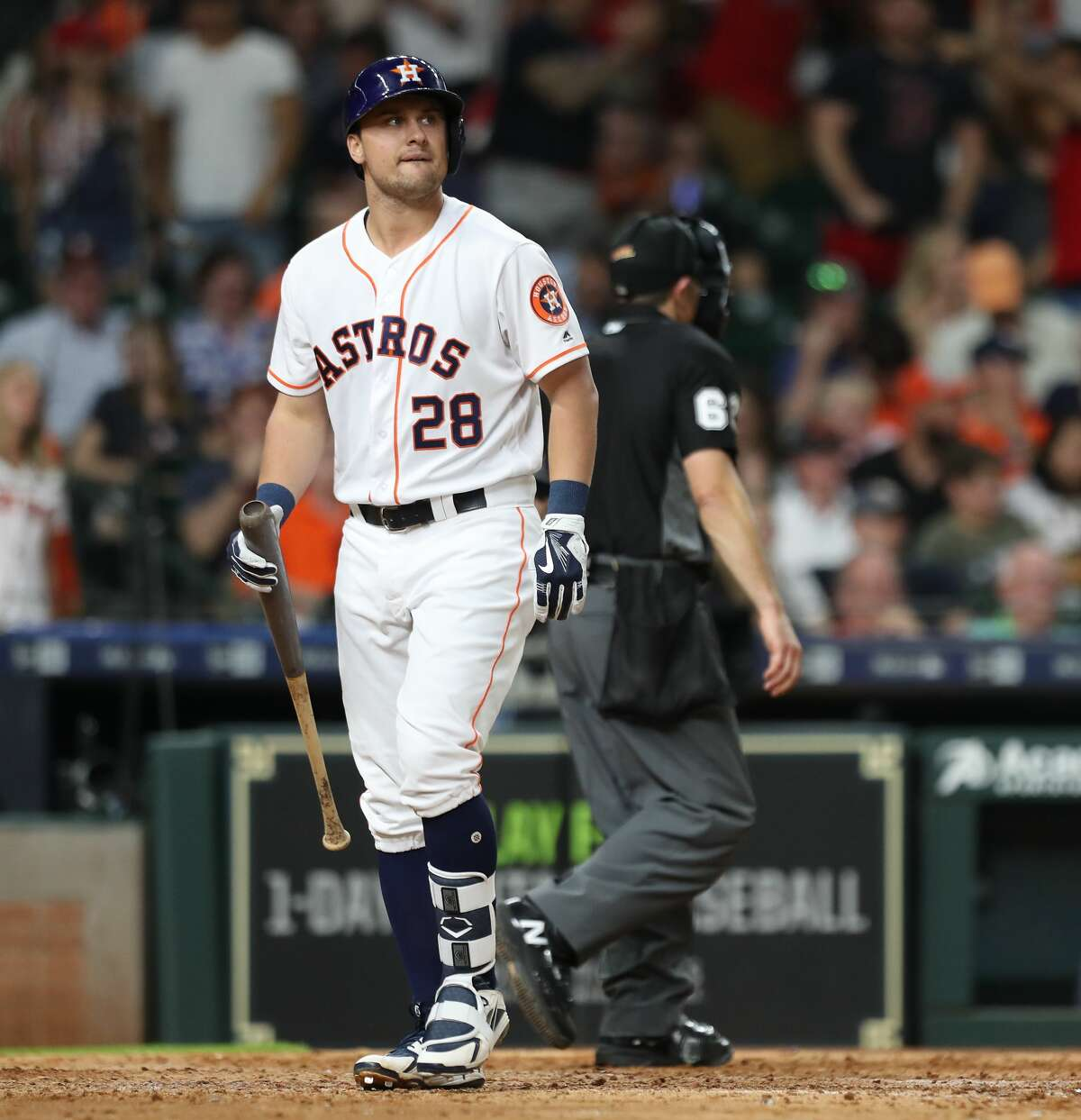 Houston Astros third baseman J.D. Davis (28) reacts to making the last out during the 9th inning of an MLB baseball game at Minute Maid Park Saturday, June 2, 2018, in Houston. ( Steve Gonzales / Houston Chronicle )